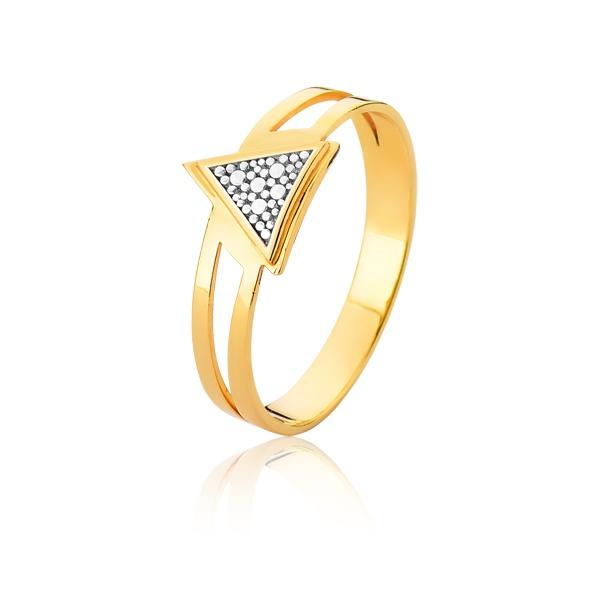 Anel De Triangulo Em Ouro - L-A-18-10K - Alianças Jessica