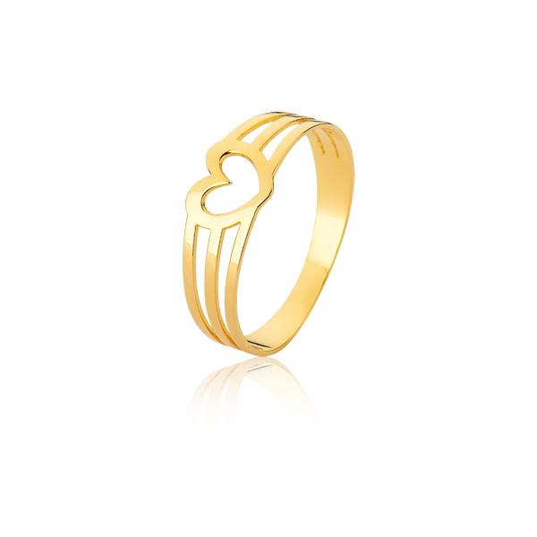 Anel Ouro Com Coração Vazado - L-A-07-10K - Alianças Jessica