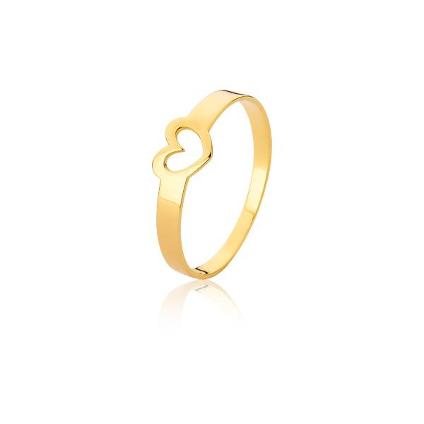 Anel De Coração Vazado Em Ouro 18k - L-A-05 - Alianças Jessica