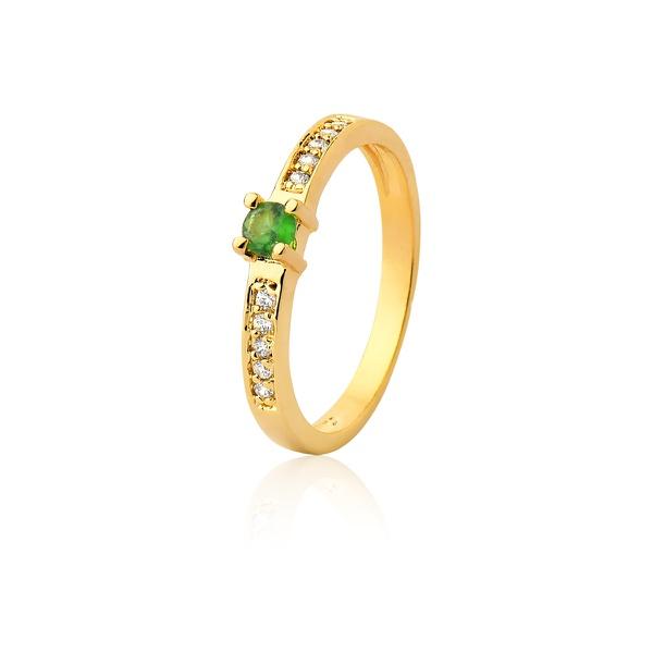 Anel De Noivado Em Ouro 18k Esmeralda e Diamantes - L-A-300-E - Alianças Jessica