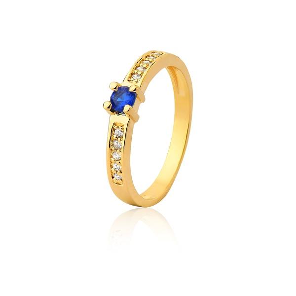 Anel De Noivado Em Ouro 18k Safira e Diamantes - L-A-300-S - Alianças Jessica