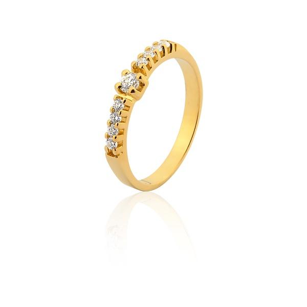 Anel De Noivado Ouro 18k Com Diamantes