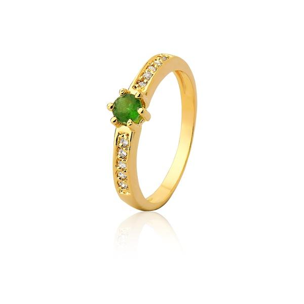 Anel De Noivado Ouro 18k Esmeralda e Diamantes - L-A-301-E - Alianças Jessica