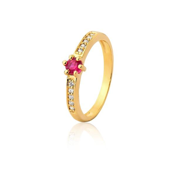 Anel De Noivado Ouro 18k Rubi e Diamantes - L-A-301-R - Alianças Jessica