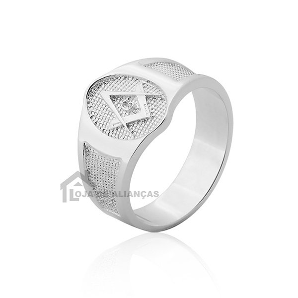 Anel de Maçonaria de prata Oval
