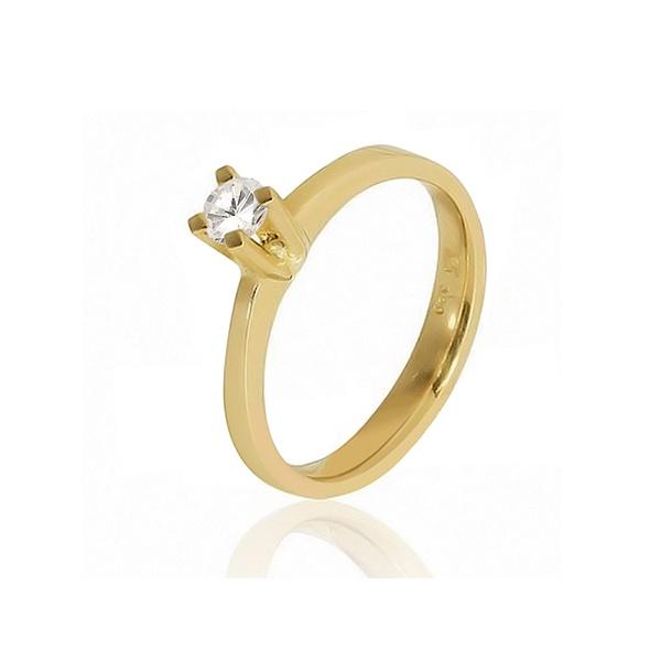 Anel De Noivado Em Ouro 18k Com Diamante - L-S-25 - Alianças Jessica