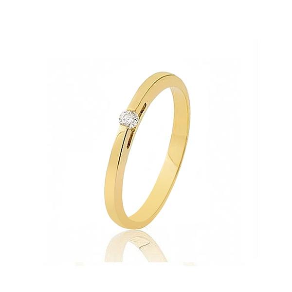 Anel De Noivado Em Ouro Com Diamante - L-S-01 - Alianças Jessica