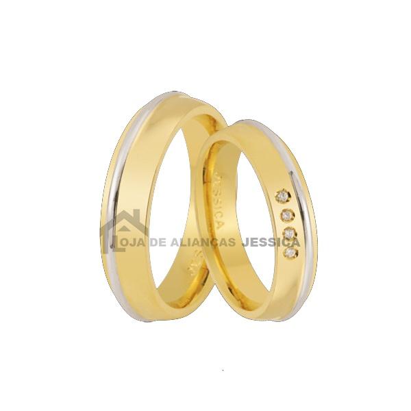 Aliança Em Ouro 18k Com Diamantes - L-E-67 - Alianças Jessica