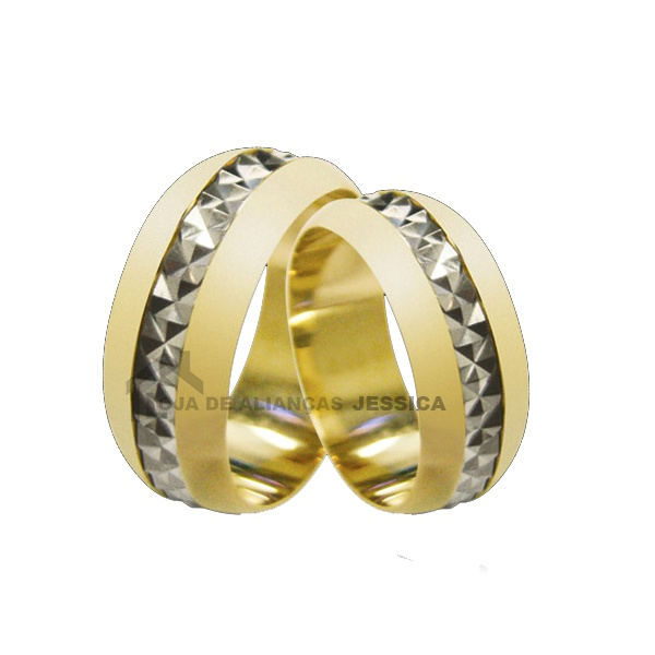Aliança Em Ouro 18k Para Bodas De Prata - L-B-44 - Alianças Jessica