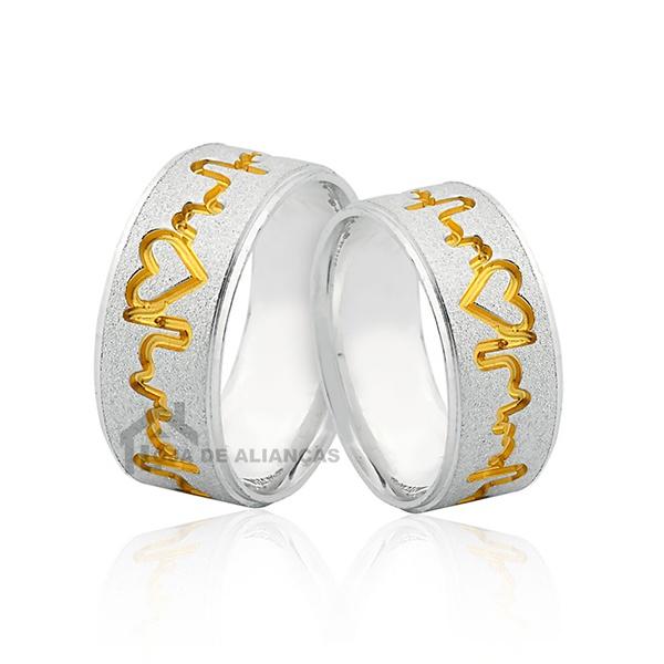 Alianças De Prata Com Batimentos Banhados A Ouro