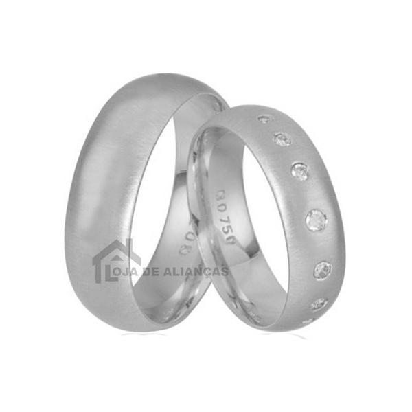 Aliança De Namoro Com Pedras Em Prata - L-AG-1316 - Alianças Jessica
