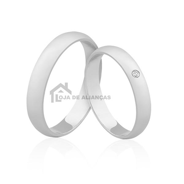 Aliança De Namoro Em Prata Com Pedra - L-AG-1119 - Alianças Jessica