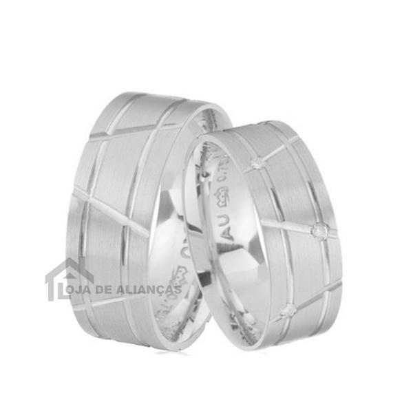 Aliança De Namoro Em Prata Com Pedra - L-AG-1310 - Alianças Jessica