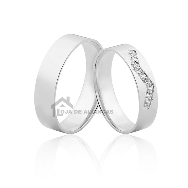 Aliança de Prata com Pedras Namoro ou Compromisso