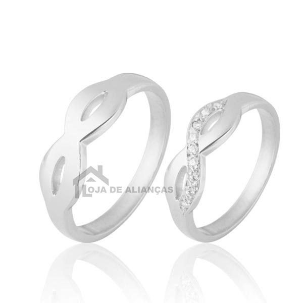 Aliança De Prata Para Namoro Com Pedras