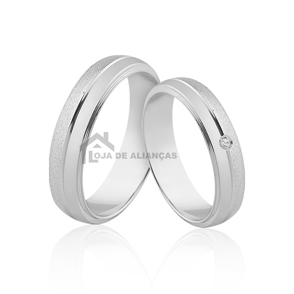 Aliança para Namoro em Prata com Pedra