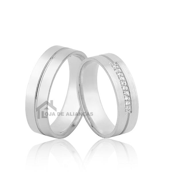 Alianças De Namoro Em Prata Com Pedras