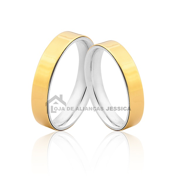 Alianças De Prata e Ouro Com Entrega Rápida - L-AG-3001 - Alianças Jessica