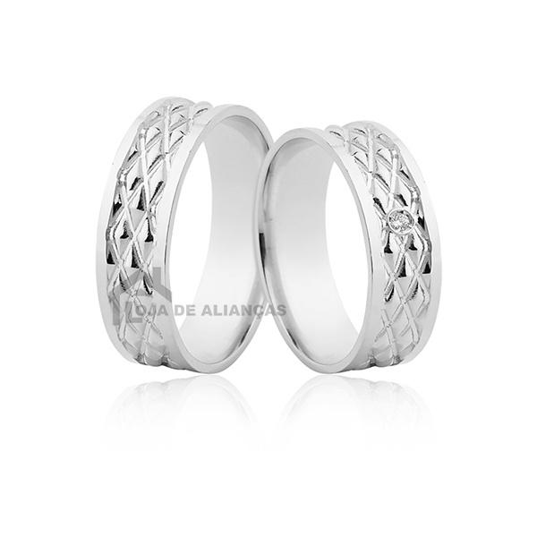 Aliança De Compromisso Em Prata Com Pedra - L-AG-1194 - Alianças Jessica