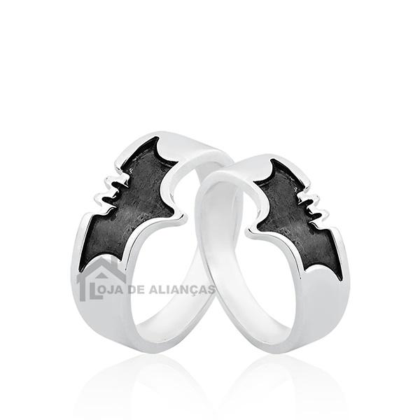 Aliança Personalizada De Prata Desenho Morcego