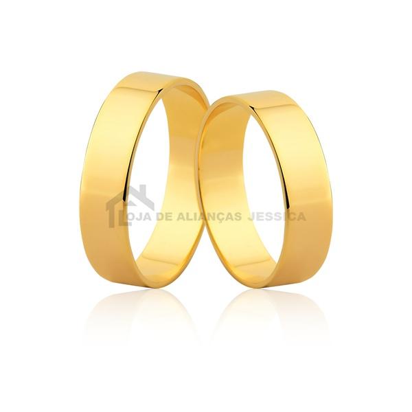 Aliança De Noivado De Ouro - L-J-50-10k - Alianças Jessica