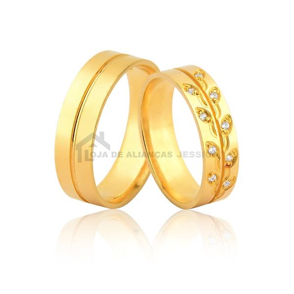 Alianças Com Folhas e Pedras De Ouro - L-JN-484-10k - Alianças Jessica