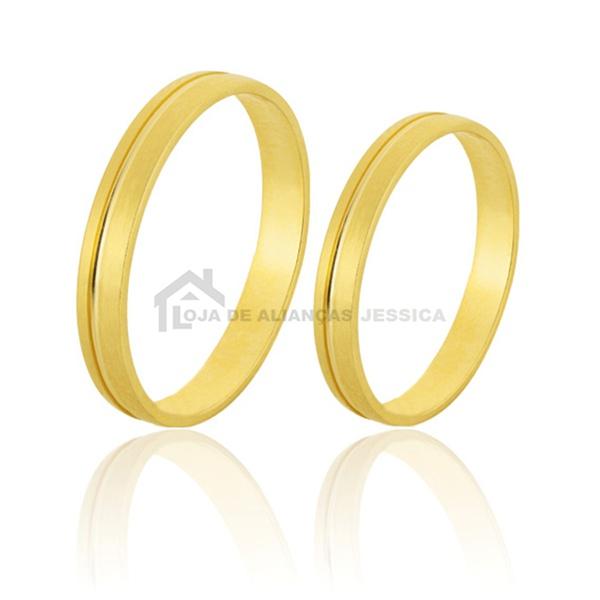 Alianças Com Friso De Ouro - L-CM-31-10k - Alianças Jessica