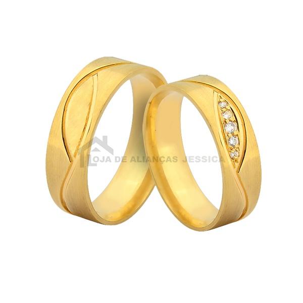 Alianças Com Pedras - L-JN-383-10k - Alianças Jessica