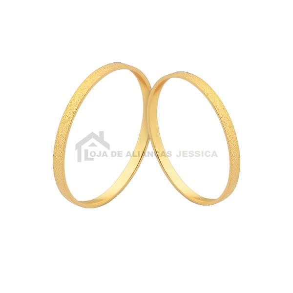 Alianças De Casamento Diamantadas Ouro - L-J-445-10k - Alianças Jessica