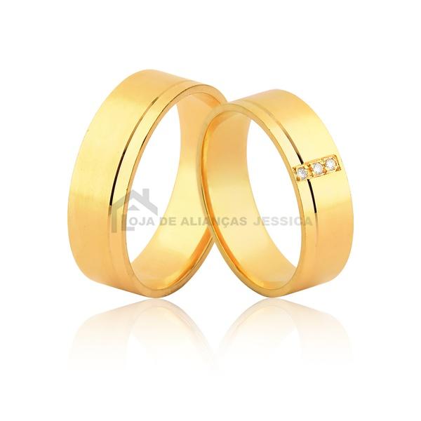 Alianças De Noivado e Casamento De Ouro - L-JE-578-10k - Alianças Jessica