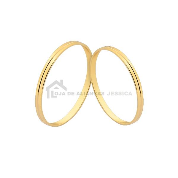 Alianças De Noivado e Casamento Em Ouro - L-J-230-10k - Alianças Jessica