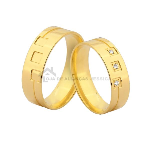 Alianças De Noivado e Casamento - L-JN-391-10k - Alianças Jessica