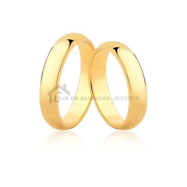 Alianças De Ouro Abauladas - L-CM-42-10k - Alianças Jessica
