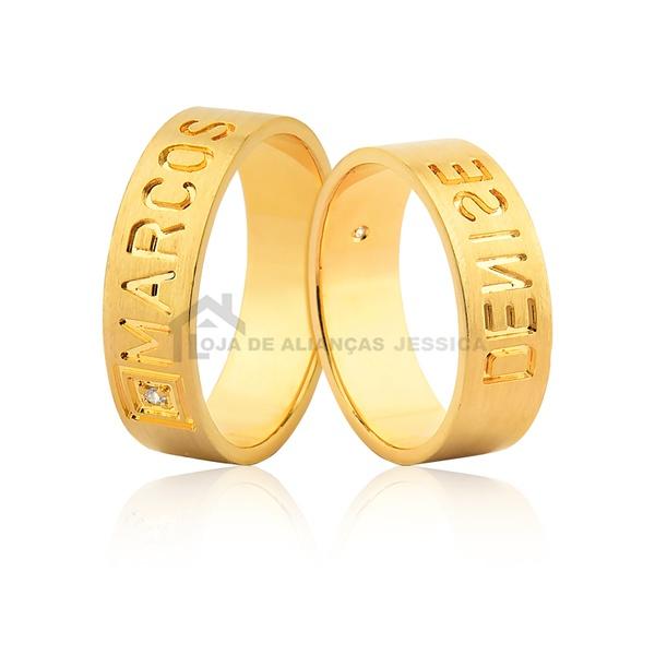 Alianças De Ouro Com Nomes - L-JN-504-10k - Alianças Jessica
