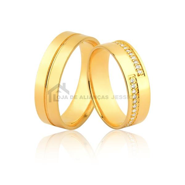Alianças De Ouro - L-JN-489-10k - Alianças Jessica