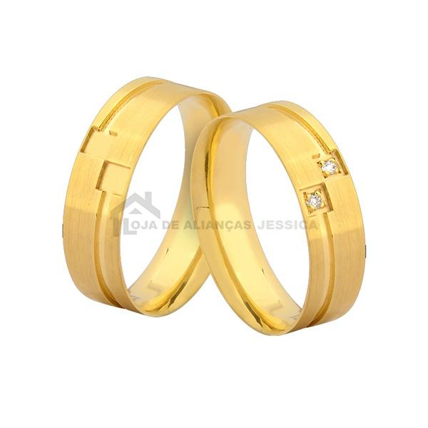 Alianças De Ouro Personalizadas - L-JN-390-10k - Alianças Jessica