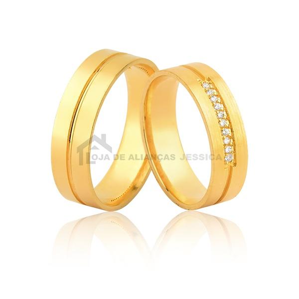 Alianças Em Promoção Com Pedras - L-JN-488-10k - Alianças Jessica