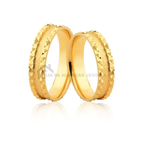 Alianças Trabalhadas Em Ouro - L-JE-598-10k - Alianças Jessica