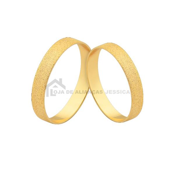 Par De Alianças Em Ouro Foscas - L-J-465-10k - Alianças Jessica