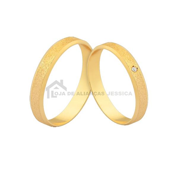 Alianças De Ouro Com Pedra - L-J-554-Z - Alianças Jessica