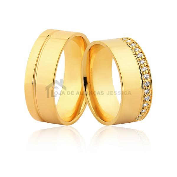 Alianças De Ouro Com Pedras - L-JE-599-Z - Alianças Jessica