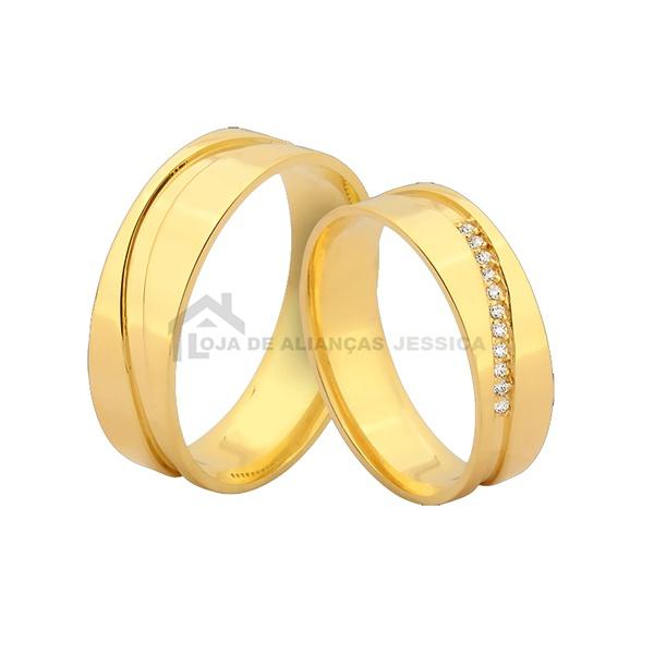 Alianças De Ouro Com Pedras - L-JN-384-Z - Alianças Jessica