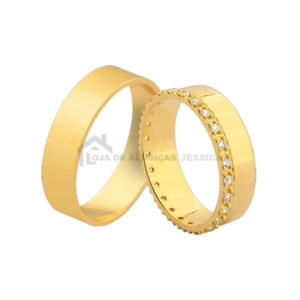 Alianças De Ouro Lateral Com Pedras