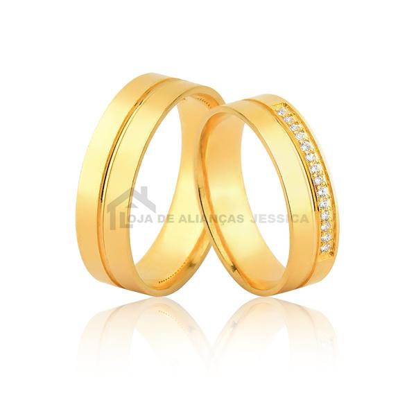Alianças Em Ouro Com Pedras - L-JN-482-Z - Alianças Jessica