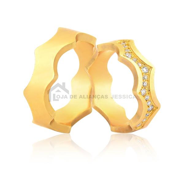 Alianças Estilizadas Em Ouro - L-JN-487-Z - Alianças Jessica