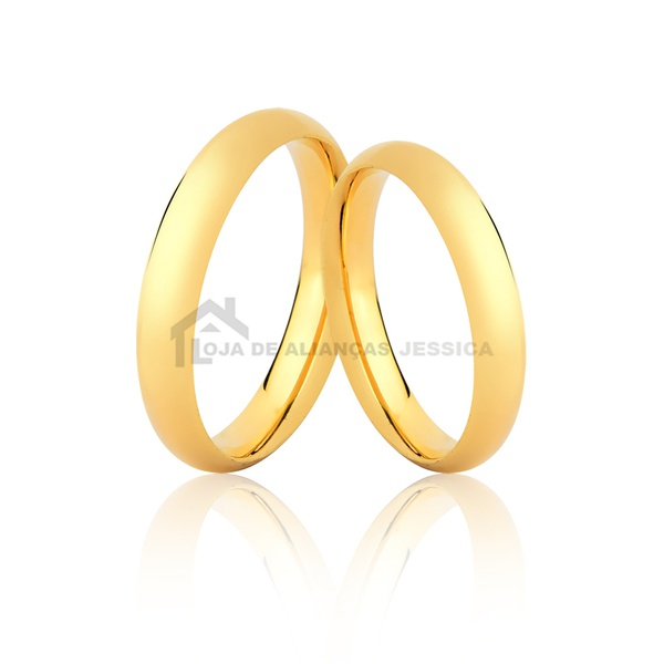 Alianças Meia Cana De Ouro 18k