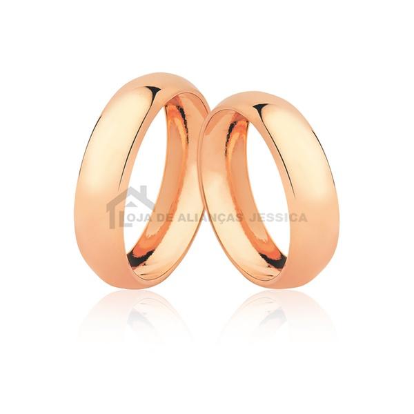 Alianças De Ouro Rosé 18k Concavas