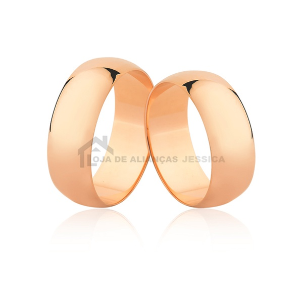 Par De Alianças De Noivado Em Ouro Rosé 18k