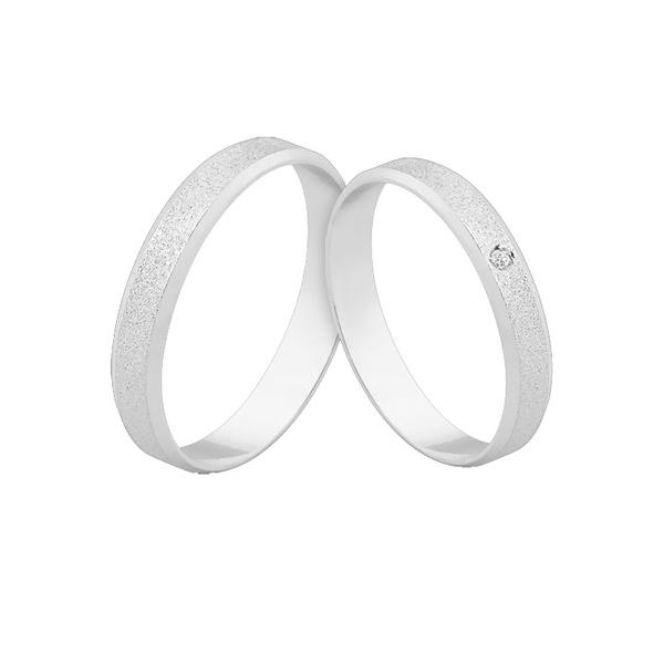 Alianças De Ouro Branco 18k Com Diamante