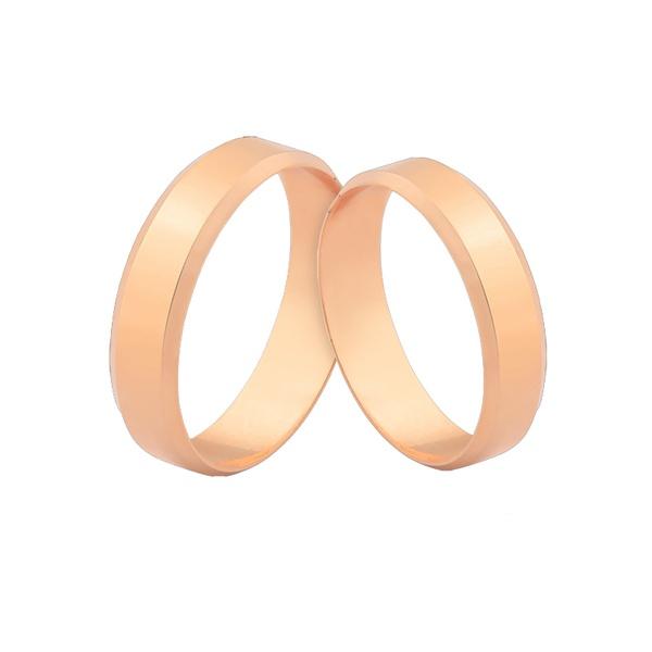Alianças Chanfradas Em Ouro Rosé 18k